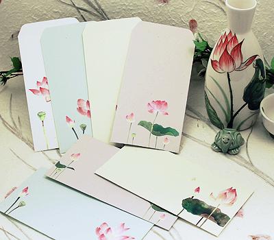 연꽃 디자인 편지 봉투(10매/8종택1) / 불교용품,기념품