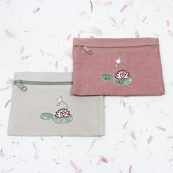 연꽃자수 지퍼 주머니 (회색/분홍) - 소품주머니/불교지갑